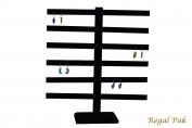 Regal Pak ® Black Velvet 6-Bar Earring Display (30 Pairs) Stand 36cm X 38cm H