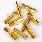 Textured Golden Ribbon Bracelet Bookmark Pinch Crimp Clamp End Findings Cord Ends 70pcs 20mm