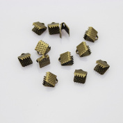 6 mm Antiqued Brass Bronze Ribbon Bracelet Bookmark Leather Pinch Crimps End Findings
