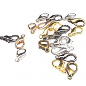 Mixed Silvery Golden Bronze Jewellery Lobster Clasps Findings 14mm -100pcs
