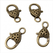 Heart Bronze Plated Jewellery Lobster Clasps Findings 26X14mm 20PCS
