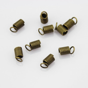 Antiqued Brass Bronze Leather Cord Spring Coil Ends For 3.5 mm Cord
