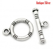 Antique Silver Finish Toggle Clasps 10 Sets