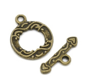 Antique Bronze Finish Toggle Clasps 10 Sets