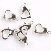 Heart Silvery Jewellery Lobster Clasps Findings 12x8x3mm 100pcs