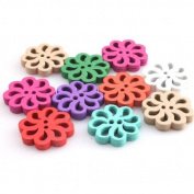Colourful Flower Design Wooden Charms Buttons for DIY Sewing Craft?150pcs?