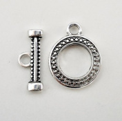 Antique Silver Round Diamond Toggle Clasps - 20 Sets
