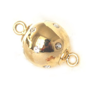 High Quality 14k Yellow /White Gold Filled Rhinestone DIY Jewellery Making Strong Magnetic Ball Clasp Finding