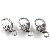 20pcs Alloy Carved Plated Antique Silver Lobster Clasps For Jewellery Making