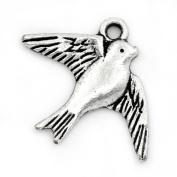Housweety 50PCs Charm Pendants Swallow Bird Animal Silver Tone 23mmx18mm