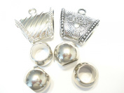 Scarf Tubes Bails Rings 6pcs Silver Tone