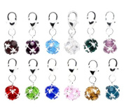 Housweety 12 Mixed Birthstone Clip On Charm Fit Chain Bracelet