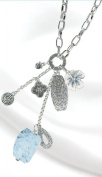 Silver Metallic Flower and Stone Charm Necklace
