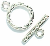 Shipwreck Beads Pewter Toggle Clasp, 12 by 15mm, Metallic, Silver, 5-Set