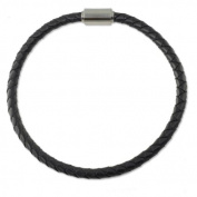 """Braided Rubber Bracelet 4mm Black with Stainless Steel Magnetic Twist Clasp 8"""""""