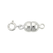 Sterling Silver 7 mm Magnetic Clasp Converter for Necklaces Italy, Large size