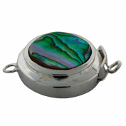 Sterling Silver Abalone Shell Round Jewellery Clasp.