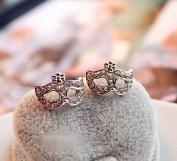 Stunning Super Junior Opera Cat Girl Mask Crystal Earrings Jewellery (Silver) From U-Beauty