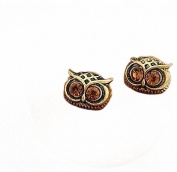 Retro Vintage Cute Big Crystal Dark Brown Eye Bronze Owl Face Earrings By U-Beauty