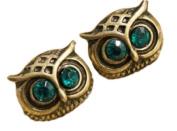 Retro Vintage Cute Big Crystal Eye Bronze Owl Face Earrings By U-Beauty