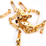 100 Golden Brooch Badge Latch Finding Tool DIY Back Safety Catch Bar Pin 20 Mm