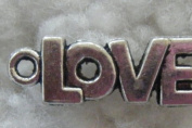 "Silver Plated ""Love"" Charms (5) - 20 X 8mm"