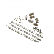 13mm or 1/2 inch Silver Ribbon Choker Bracelet Hardware Kit