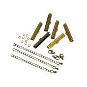 35mm or 1 3/8 inch Antique Bronze Ribbon Choker Bracelet Hardware Kit