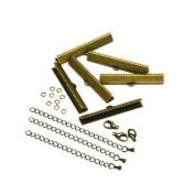 40mm or 1 9/16 inch Antique Bronze Ribbon Choker Bracelet Hardware Kit