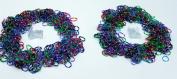"Polka Dot Colour Rainbow Rubber Loom Rainbow Bands 1200 Pieces with 24 ""S"" Clips"