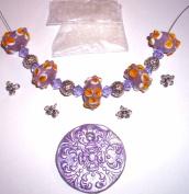 Junesgems Lilac Jewellery Bead Lot Handmade Lampwork Glass Antiqued Silver Metal Sea Glass Seed
