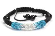 Ocean Blue Clear Shamballa Style Tube Bracelet. Crystal Bead Bangle adjustable