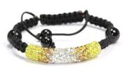 Citrine Topaz Clear Shamballa Style Tube Bracelet. Crystal Bead Bangle adjustable