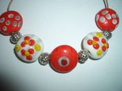 handmade lampwork glass jewellery beads antiqued silver spacer