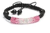Rose and Clear Shamballa Style Tube Bracelet. Crystal Bead Bangle adjustable