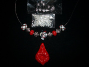 Junesgems Red Heart Handmade Lampwork Silver Metal Sea Glass Seed Vintage Lucite Jewellery Bead Lot Q2