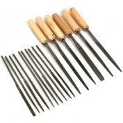 16 Needle Files Wood Handle Jewellers Watch Filing Tools