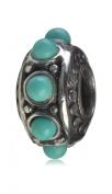DUMAN 925 Sterling Silver Flower Turquoise Bead Fits Pandora, Biagi, Troll, Chamilla European Charm Bracelet