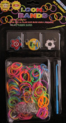 D.I.Y. LOOM BANDS Colourful 'NEON' SET w 300 RAINBOW Colours 'NEON' RUBBER BANDS (NO Latex), 3 CHARMS (SOCCER BALL, Island Scene & Flower), CLIPS & TOOL