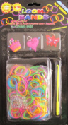 D.I.Y. LOOM BANDS Colourful 'NEON' SET w 300 RAINBOW Colours 'NEON' RUBBER BANDS (NO Latex), 3 CHARMS (Red Butterfly, Pink Crown & Pink Heart), CLIPS & TOOL