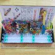 BSI - Value Pack Loom Kit - 1800pcs Mix Rainbow Bands + 72 Clips + Loom Board + 2 Mini Hooks + 1 Finger Hook + 12pcs Charms W/ring -Box Set, Great Fun for Kids' Party