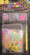 D.I.Y. LOOM BANDS Colourful 'NEON' SET w 300 Colourful 'NEON' RUBBER BANDS (NO Latex), 3 CHARMS (Purple FLOWER, Blue HEART & Pink HEART), CLIPS & TOOL