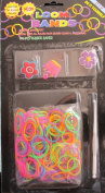 D.I.Y. LOOM BANDS Colourful 'NEON' SET w 300 RAINBOW Colours 'NEON' RUBBER BANDS (NO Latex), 3 CHARMS (Red & Blue FLOWER, Pink CROWN & Purple FLOWER CHARM), CLIPS & TOOL
