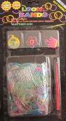 D.I.Y. LOOM BANDS Colourful 'GLITTER Finish' SET w 300 RAINBOW Colours 'NEON' RUBBER BANDS (NO Latex), 3 CHARMS (Island Scene, Crown & Flower Charm), CLIPS & TOOL