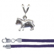 Gift Boxed Zebra Pendant with 41cm Purple Satin Cord Sterling Silver African Animal Jewellery Set