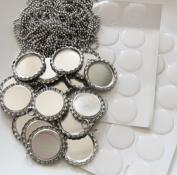 20 Pack Photo Bottle Cap Pendants w/ 20 Silver Ball Chains