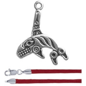 Gift Boxed Killer Whale Pendant with 46cm Red Satin Cord Sterling Silver Pacific Northwest Jewellery Set