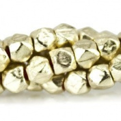 14kt Gold plated Copper Bead Faceted Nugget, Brushed 4mm