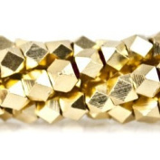 22kt Gold plated Copper Bead Faceted Nugget, Shiny 4mm