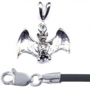 Gift Boxed Bat Pendant with 41cm Black Cord Sterling Silver Gothic Jewellery Set